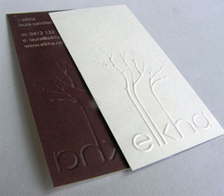 Business card emboss