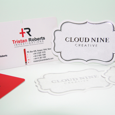 Diecut foiled business cards